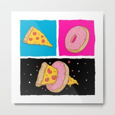 Pizza & Donut Metal Print