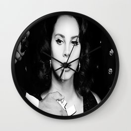Lana Del Re-y Poster, Black And White Poster Wall Clock