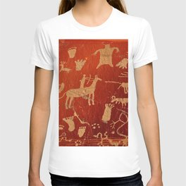 Red Infographics of Petroglyphs on newspaper rock at Canyonlands national park, Utah, USA  T-shirt
