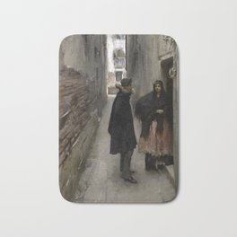 A Street in Venice by John Singer Sargent - Vintage Fine Art Oil Painting Bath Mat