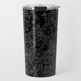 Clockwork B&W inverted / Cogs and clockwork parts lineart pattern Travel Mug