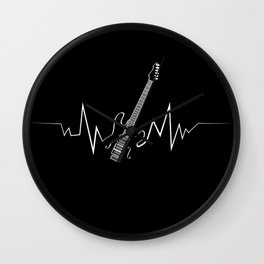 Electric Guitar Heartbeat Cool Gift for Guitarists Wall Clock