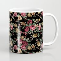 vintage flowers Mugs featuring Vintage Flowers by Eduardo Doreni