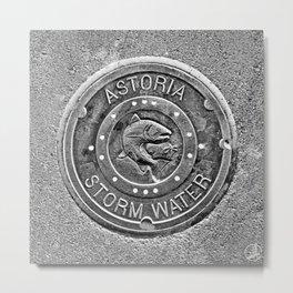 Astoria Storm Water, Monotone Metal Print