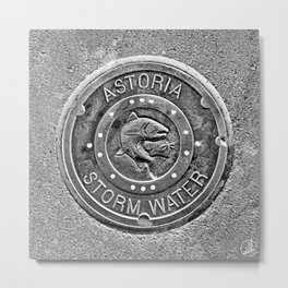 Astoria Storm Water, Monotone Metal Print