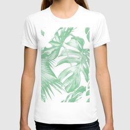 Tropics Palm Leaves Green on White T-shirt