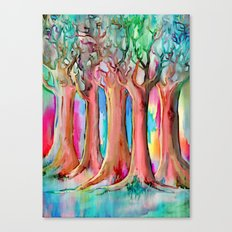 Dream Forest - rainbow colored tree painting Canvas Print