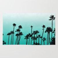 santa monica Area & Throw Rugs featuring Santa Monica Palms by Kat Rutt Design