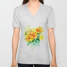 California Poppies, floral home decor Unisex V-Neck