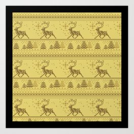 Christmas knitted pattern Art Print