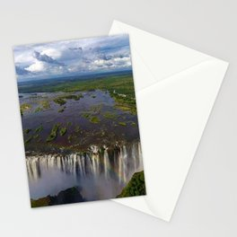 Victoria Falls with Rainbow, Zambia and Zimbabwe, Africa Stationery Cards