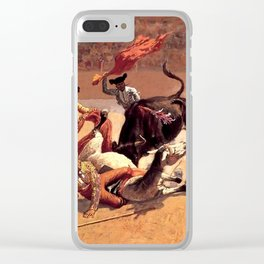"""Frederic Remington Western Art """"Bullfight in Mexico"""" Clear iPhone Case"""