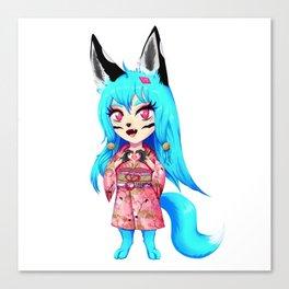 Chibi Manga Anime Girl Alaska Yokai Wolf Fox Canvas Print