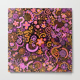 Pink Orange Yellow Zendoodle Metal Print