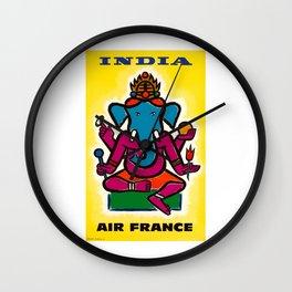 1950 India Air France Ganesha Airline Poster Wall Clock