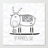 ski Canvas Prints featuring Apres ski by Farnell