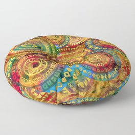 Colorful Circular Tribal  pattern with gold Floor Pillow