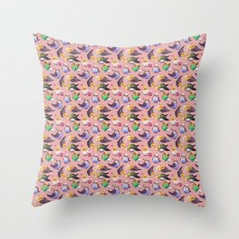 Budgies and Cockatiels Throw Pillow