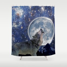 A One Wolf Moon Shower Curtain