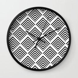 Black and White Art Deco Geometric Diamond Pattern Wall Clock