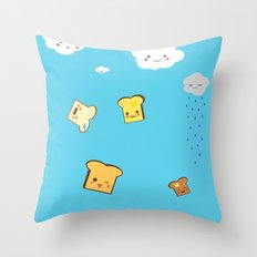 Flying Toast On Blue Throw Pillow