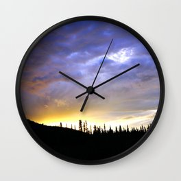 Heart of Light Above the Dark Mountain Wall Clock