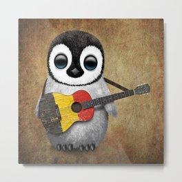 Baby Penguin Playing Belgian Flag Acoustic Guitar Metal Print