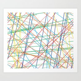 """5, 6 Pick Up Sticks"" Geometric Colorful Lines Art Print"