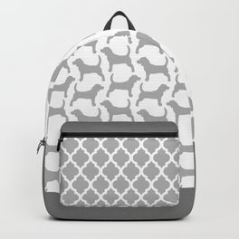 Grey and White Beagle Silhouettes Pattern Backpack