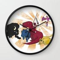power rangers Wall Clocks featuring Rangers Rising by JoSumdac