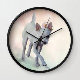 Small white dog . Digital painting Wall Clock