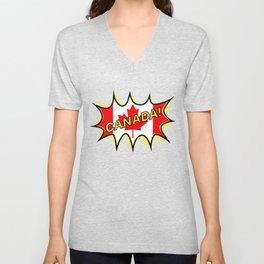 Canadian Flag Comic Style Starburst Unisex V-Neck