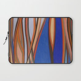 Retro Blues Browns Oranges Line Design with Pastels by annmariescreations Laptop Sleeve