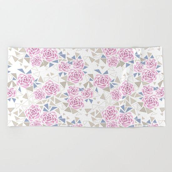 Modern . Geometric pattern . Roses . 1 Beach Towel