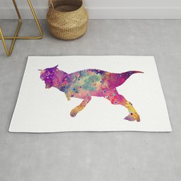Carnotaurus Dinosaur Art Watercolor Pint Purple Animals Nursery Decor Dinosaur Kids Gifts Rug