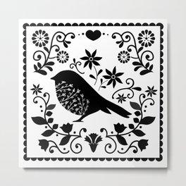 Woodland Folk Black And White Blue Bird Tile Metal Print