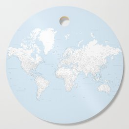 World map, highly detailed in light blue and white, square Cutting Board