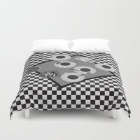 cigarettes Duvet Covers featuring coffee and cigarettes by Live It Up