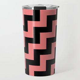 Black and Coral Pink Steps RTL Travel Mug