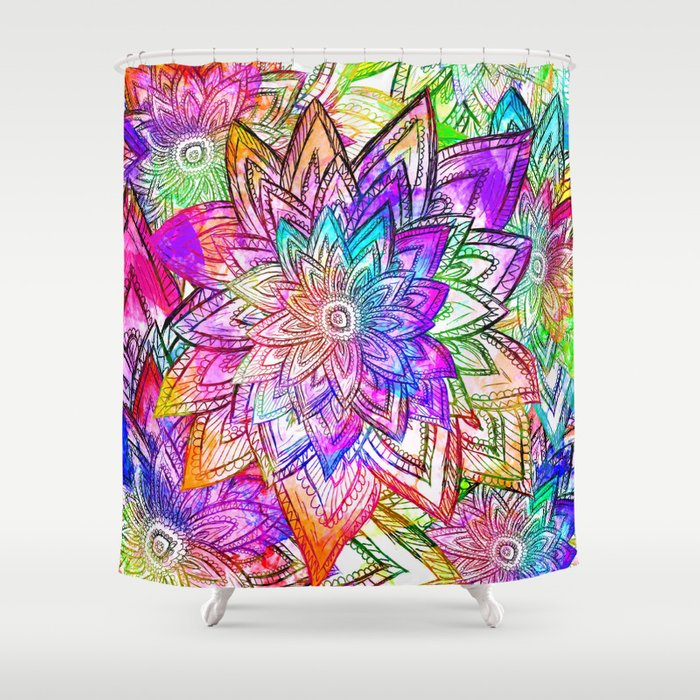Psychedelic Neon Colorful Vintage Floral Pattern Drawing ...