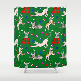 christmas sphynx (naked cat) ugly sweater Shower Curtain