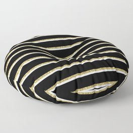 Black Gold White Stripe Pattern 2 Floor Pillow