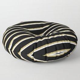 Black Gold White Stripe Pattern 2 Floor Pillow