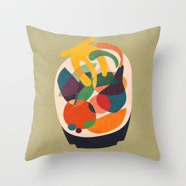 Fruits in wooden bowl Throw Pillow