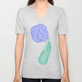 blue pixel flower Unisex V-Neck