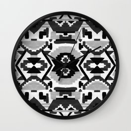 Geometric Aztec - black and white Wall Clock