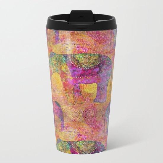 Elephant Pattern colorful orange pink Metal Travel Mug