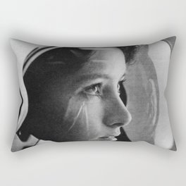 NASA Astronaut, Anna Fisher, black and white photograph Rectangular Pillow