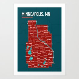 Minneapolis Map of Neighborhoods no. 1 Art Print