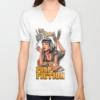 mia wallace V-neck T-shirts featuring Mia Wallace - Pulp Fiction by Renato Cunha